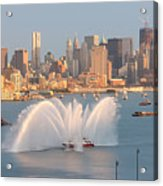 Fire Boat And Manhattan Skyline Iv Acrylic Print by Clarence Holmes