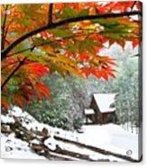 Fire Fog And Snowy Fence Acrylic Print by Debra and Dave Vanderlaan