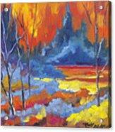 Fire Lake Acrylic Print by Richard T Pranke