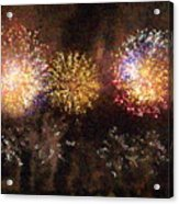 Fire Works Show Stippled Paint 3 France Acrylic Print by Dawn Hay