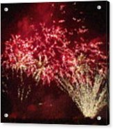 Fire Works Show Stippled Paint 4 Canada Acrylic Print by Dawn Hay