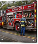 Firemen - The Modern Fire Truck Acrylic Print by Mike Savad