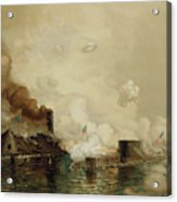 First Fight Between Ironclads Acrylic Print by Julian Oliver Davidson