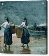 Fisher Girls By The Sea Acrylic Print by Winslow Homer