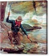 Fisherman By Stream Acrylic Print by Phillip R Goodwin