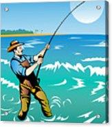 Fisherman Surf Casting Acrylic Print by Aloysius Patrimonio