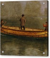 Fishing From A Canoe Acrylic Print by Albert Bierstadt