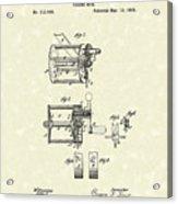 Fishing Reel 1885 Patent Art Acrylic Print by Prior Art Design