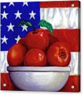 Flag And Apples Acrylic Print by Linda Mears