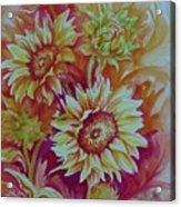 Flaming Sunflowers Acrylic Print by Summer Celeste