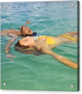 Floating Young Couple Acrylic Print by Tomas del Amo - Printscapes