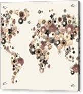 Flower World Map Sepia Acrylic Print by Michael Tompsett