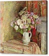 Flowers In A Vase Acrylic Print by Edouard Vuillard