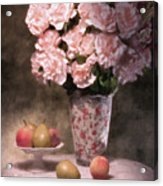 Flowers With Fruit Still Life Acrylic Print by Tom Mc Nemar