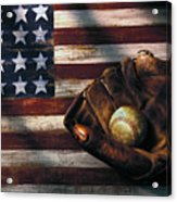 Folk Art American Flag And Baseball Mitt Acrylic Print by Garry Gay