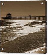 Folly Pier Sunset Acrylic Print by Drew Castelhano