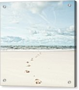 Footprints Leading Into Sea Acrylic Print by Dune Prints by Peter Holloway