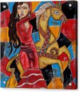 Frida Kahlo Dancing With The Unicorn Acrylic Print by Rain Ririn