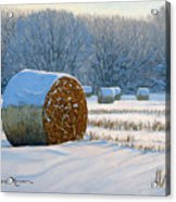 Frigid Morning Bales Acrylic Print by Bruce Morrison