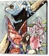 Frog Flowers And A Fairy Acrylic Print by Preston Shupp