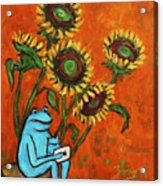 Frog I Padding Amongst Sunflowers Acrylic Print by Xueling Zou