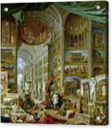 Gallery Of Views Of Ancient Rome Acrylic Print by Giovanni Paolo Pannini