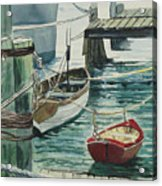 Galveston Boats Watercolor Acrylic Print by Judy Loper