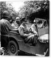 General Eisenhower In A Jeep Acrylic Print by War Is Hell Store