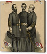 Generals Jackson Beauregard And Lee Acrylic Print by War Is Hell Store