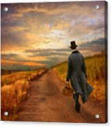 Gentleman Walking On Rural Road Acrylic Print by Jill Battaglia