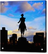 George Washington Statue Sunset - Boston Acrylic Print by Joann Vitali