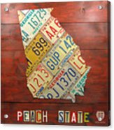 Georgia License Plate Map Acrylic Print by Design Turnpike