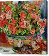 Geraniums And Cats Acrylic Print by Pierre Auguste Renoir
