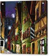 Germany Ulm Old Street Night Moon Acrylic Print by Yuriy  Shevchuk
