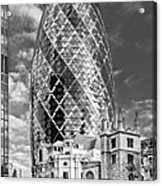 Gherkin And St Andrew's Black And White Acrylic Print by Gary Eason
