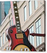 Gibson Les Paul Of The Hard Rock Cafe Acrylic Print by DigiArt Diaries by Vicky B Fuller