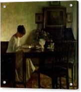 Girl Reading In An Interior  Acrylic Print by Carl Holsoe