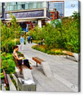 Girl Uninterrupted On The High Line Acrylic Print by Randy Aveille