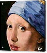 Girl With A Pearl Earring A Reproduction Of Vermeer Acrylic Print by Joan Garcia