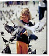 Girl With Pigeons Acrylic Print by Heiko Koehrer-Wagner