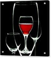Glass Of Wine In Glass Acrylic Print by Tom Mc Nemar