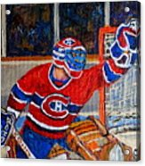 Goalie Makes The Save Stanley Cup Playoffs Acrylic Print by Carole Spandau
