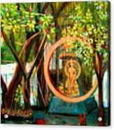 Golden Buddha Acrylic Print by Art Nomad Sandra  Hansen
