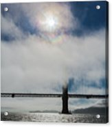 Golden Gate Silhouette And Rainbow Acrylic Print by Scott Campbell