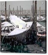 Gondolas In Venice In The Snow Acrylic Print by Michael Henderson