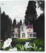 Gothic Country House Detail From Night Bridge Acrylic Print by Melissa A Benson
