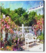 Grand Hotel Gardens Mackinac Island Michigan Acrylic Print by Betsy Foster Breen