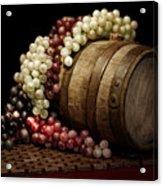 Grapes And Wine Barrel Acrylic Print by Tom Mc Nemar