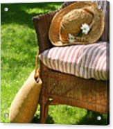 Grass Lawn With A Wicker Chair  Acrylic Print by Sandra Cunningham