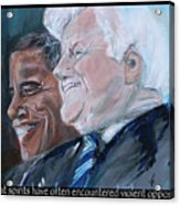 Great Spirits - Teddy And Barack Acrylic Print by Valerie Wolf